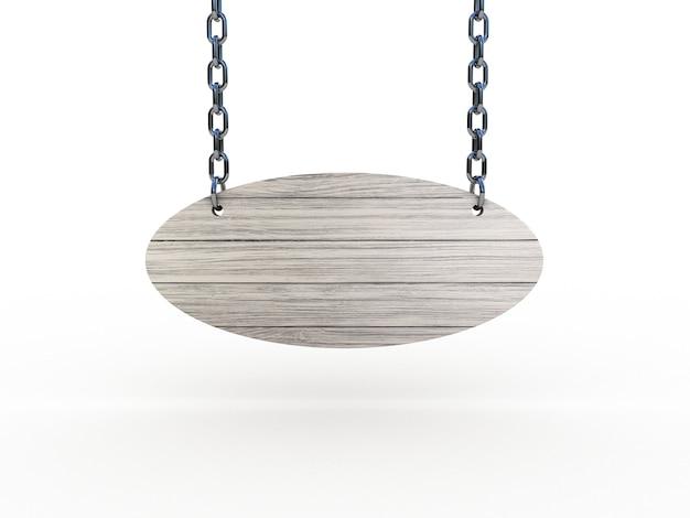 Cartello in legno appeso a catene