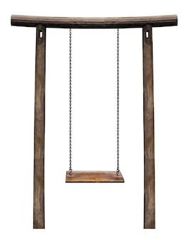 Altalena in legno che appende sul pilastro di legno isolato su bianco con il percorso di residuo della potatura meccanica