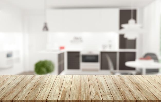 Scrivania da tavolo in legno su sfondo sfocato della cucina. assemblaggio, esposizione di prodotti.