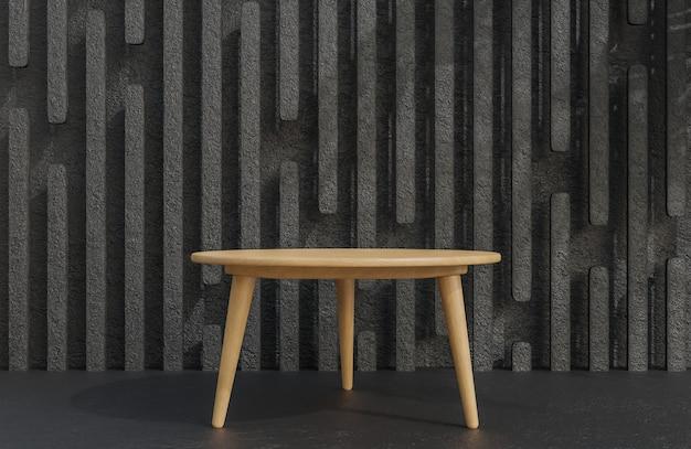 Podio da tavolo in legno per la presentazione del prodotto su sfondo nero muro di cemento stile minimalista modello 3d e illustrazione.