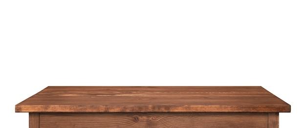 Tavolo in legno o piano del tavolo isolato su bianco. tavolo marrone scuro come modello per idee, immagine lunga ad alta risoluzione.