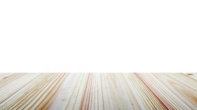 Piano d'appoggio di legno su fondo bianco