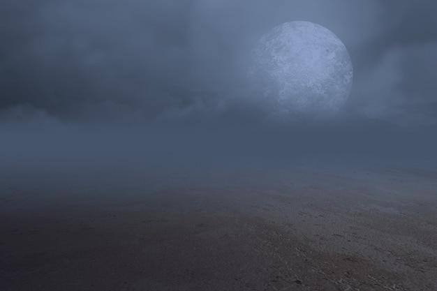 Tavolo in legno con luna piena e nuvole scure nella notte. concetto di halloween