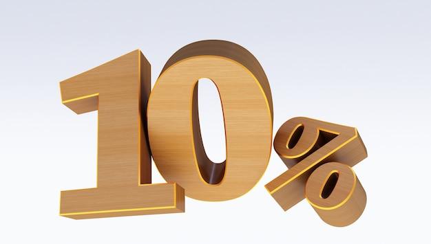 Legno dieci percento (10%) isolato su sfondo bianco, 10 dieci per cento in vendita. idea del venerdì nero. fino a 10%.