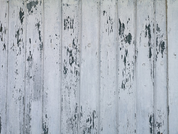 Superficie di sfondo struttura in legno con vernice bianca incrinata.