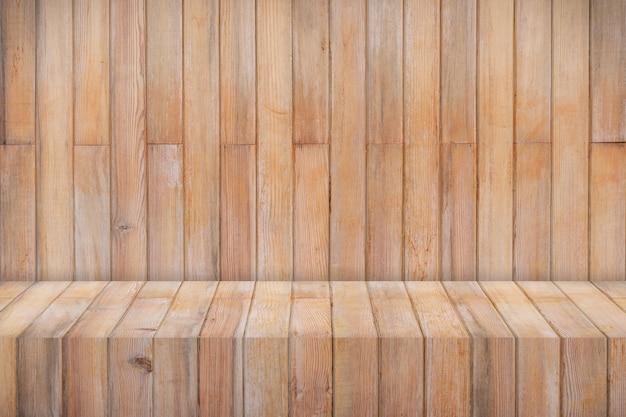 Fondo del modello di visualizzazione del prodotto della tabella di struttura in legno con lo spazio della copia.