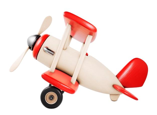 Vista di diapositiva dell'aeroplano del giocattolo di legno