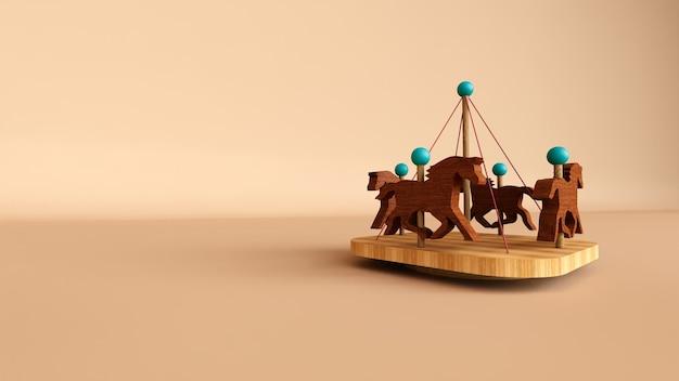 Mini giostra giocattolo in legno