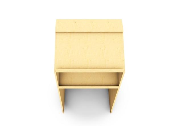 Rendering 3d di tribuna in legno isolato su sfondo bianco