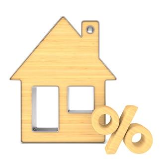 Casa e per cento di gingillo di legno su bianco