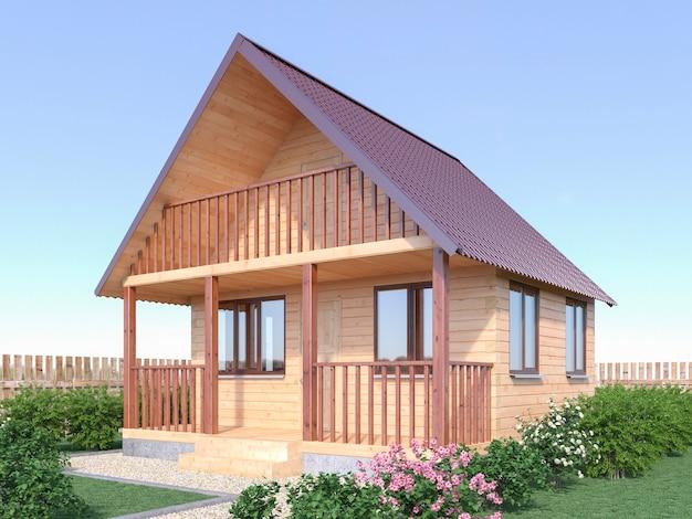 Casa di paese in legno o sauna all'esterno del giardino. 3d render illustrazione.