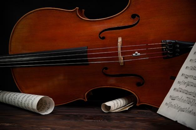 Violino in legno con corde da vicino