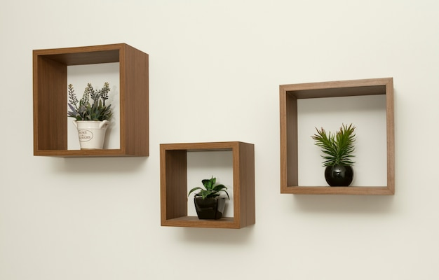 Set di mensole in legno con piccoli vasi
