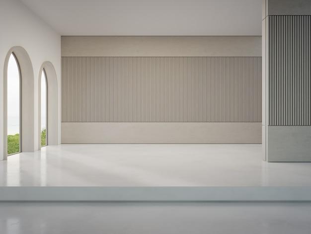 Parete in legno su pavimento in cemento bianco di un luminoso soggiorno in una moderna casa sulla spiaggia o in un hotel di lusso