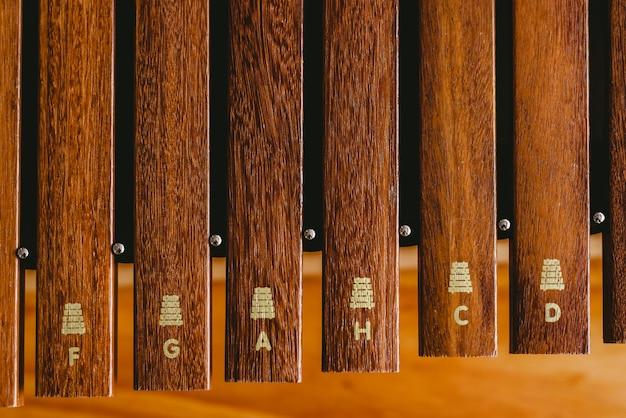 Xilofono in legno in un'aula di musica Foto Premium