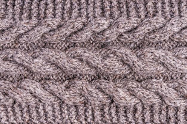 Tessuti fatti a mano di panno grigio lana tessitura lavorata a maglia grigia di lana