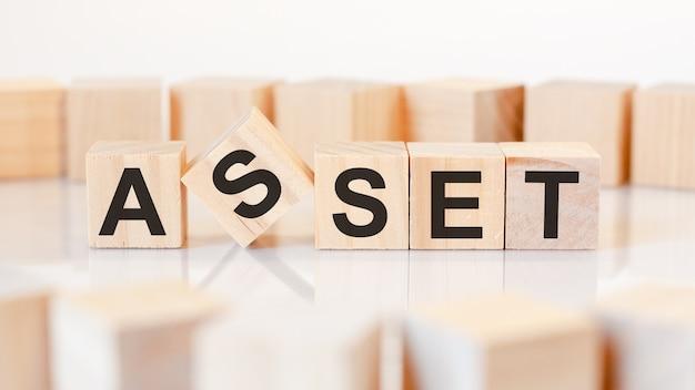 La parola asset è scritta su una struttura a cubi di legno