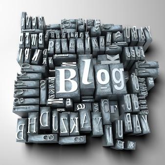 La parola blog scritta in lettere dattiloscritte