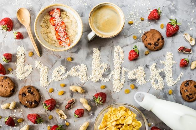 La parola colazione è scritta d di farina d'avena