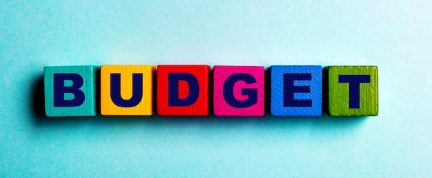 La parola budget è scritta su cubi di legno luminosi multicolori su uno sfondo azzurro
