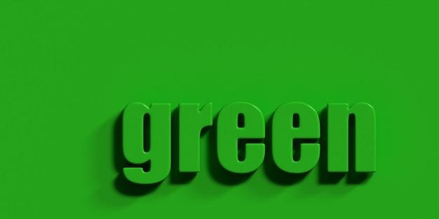 La parola verde su uno sfondo verde 3d rendering