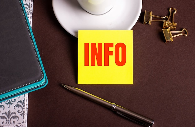 La parola info scritta su carta gialla su sfondo marrone vicino a una tazza di caffè e diari