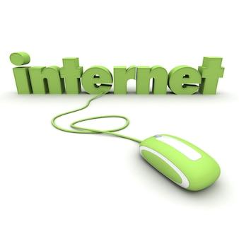 Internet di word collegato al mouse di un computer in tonalità verdi