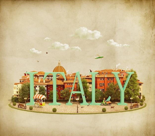 Parola italia sulla piazza con i vecchi edifici della città europea