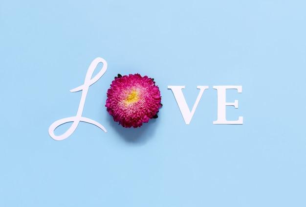 Parola amore e fiore su una vista dall'alto di sfondo azzurro