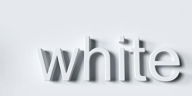 La parola bianco su uno sfondo bianco rendering 3d