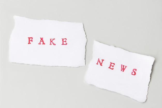 Words fake news scritte su carta strappata