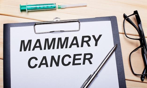 Le parole cancro alla mammaria sono scritte su un pezzo di carta bianca accanto a occhiali cerchiati di nero, una penna e una siringa