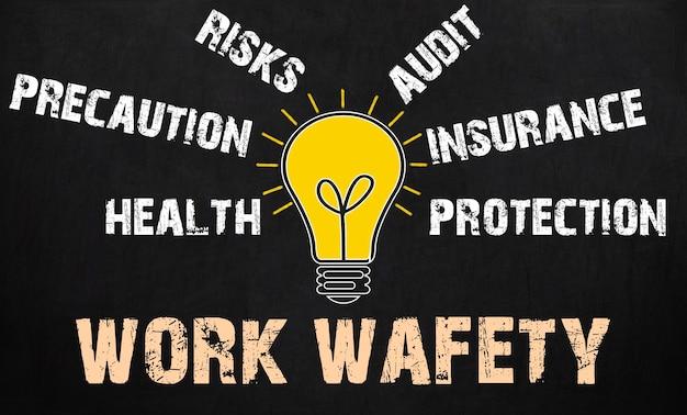 Lavagna di concetto di sicurezza sul lavoro - lampadina con testo