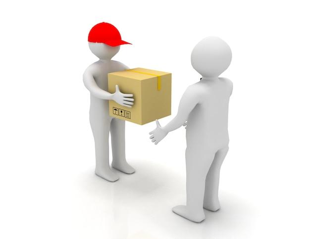 Operaio che consegna un pacco a un uomo d'affari. 3d reso illustrazione