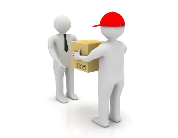 Operaio che consegna un pacco a un uomo d'affari