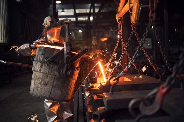 Lavoratore in tuta di protezione versando ferro fuso liquido in fonderia.