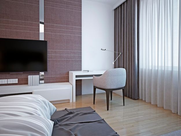 Area di lavoro in camera da letto art déco con tavolo bianco e sedie morbide per lavoro produttivo o lettura di libri.