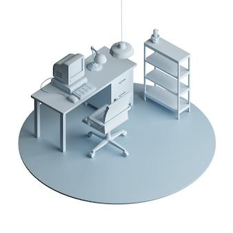 Area di lavoro, modello isometrico isolato low poly