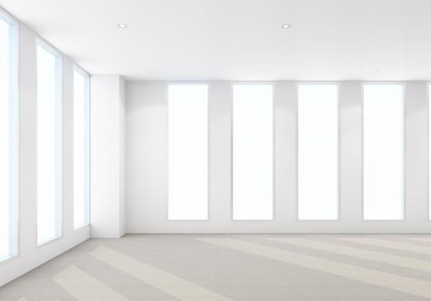 Area di lavoro in un ufficio moderno con pavimento in moquette e rendering 3d interno della sala riunioni