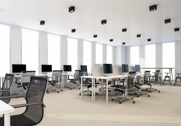 Area di lavoro in un ufficio moderno con pavimento in moquette e sala riunioni. rendering 3d di interni