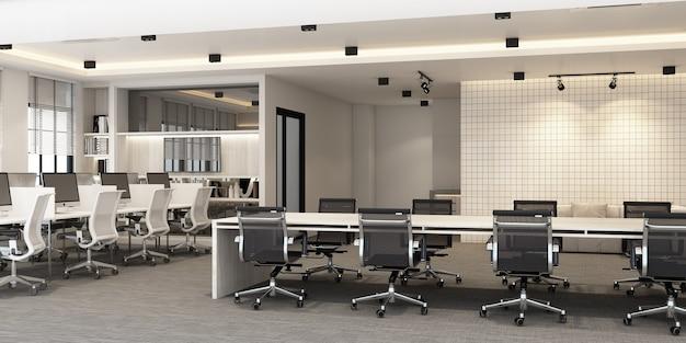 Area di lavoro in un ufficio moderno con pavimento in moquette e sala riunioni