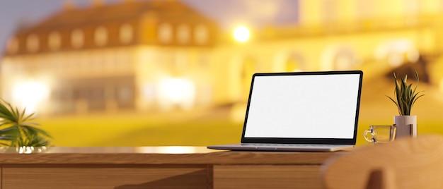 Scrivania con mockup di laptop e spazio di copia sul rendering 3d del piano d'appoggio in legno