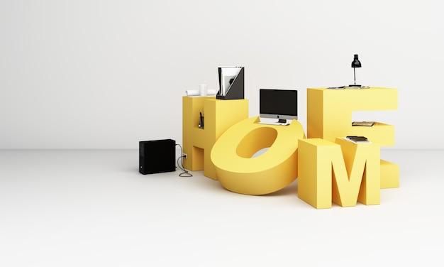 Attrezzatura di lavoro e computer è circondato dalle lettere wokr form home in toni di giallo. rendering 3d