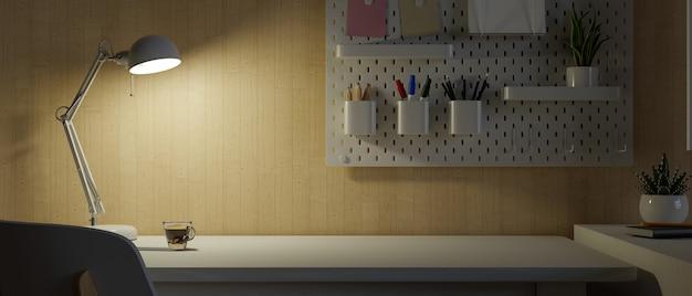 Posto di lavoro dell'area di lavoro dello studente universitario nello spazio della copia dell'appartamento sulla stanza oscura 3d del tavolo rende