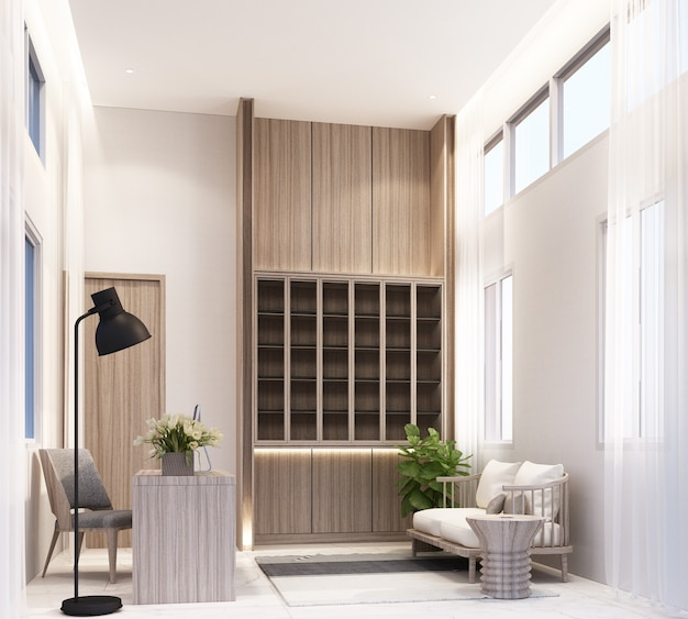Stanza di lavoro a casa con tavolo da lavoro computer e sedia scaffale per libri armadio incorporato con zona soggiorno su pavimento in piastrelle di marmo bianco e rendering 3d puro