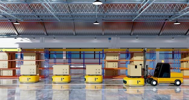 Robot di trasferimento funzionante nel rendering delle illustrazioni 3d dell'attività logistica del capannone della fabbrica
