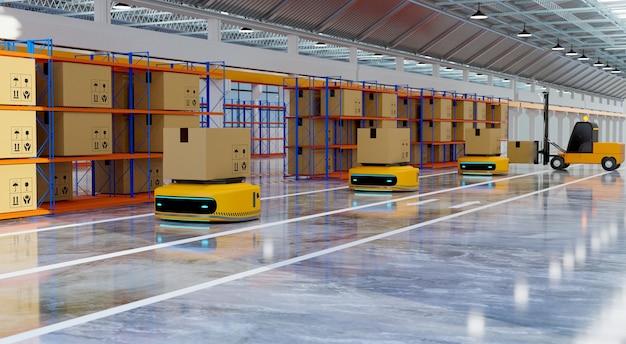 Robot di trasferimento funzionante nel capannone della fabbrica, attività di logistica e concetto di marketing online, rendering di illustrazioni 3d