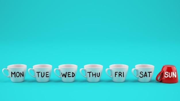Concetto di settimana lavorativa. tazze da caffè bianche nei giorni feriali e tazza rossa festiva capovolte