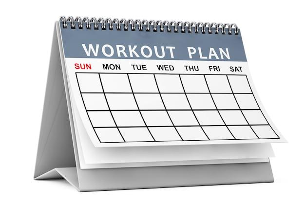 Calendario piano di allenamento su sfondo bianco. rendering 3d