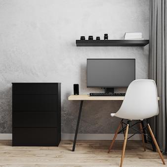 Posto di lavoro con pc su tavolo in legno stile loft con sedia bianca, cassettiera nera e parete grigia vuota, lavoro da casa concpet, interni di casa, rendering 3d